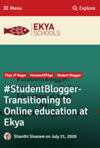 #EkyaBlog #StudentBlogger-Transitioning to Online education at Ekya